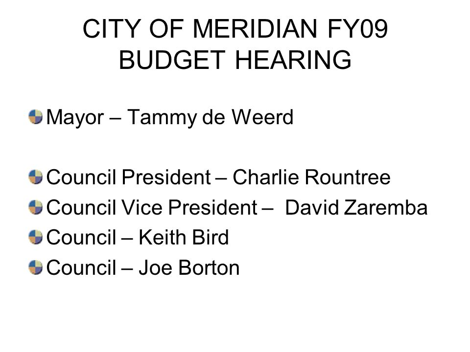 CITY OF MERIDIAN FY09 BUDGET HEARING Mayor – Tammy de Weerd Council President – Charlie Rountree Council Vice President – David Zaremba Council – Keit