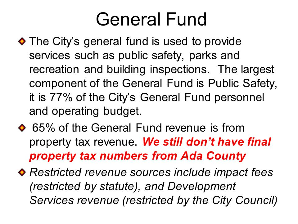 General Fund The City's general fund is used to provide services such as public safety, parks and recreation and building inspections.