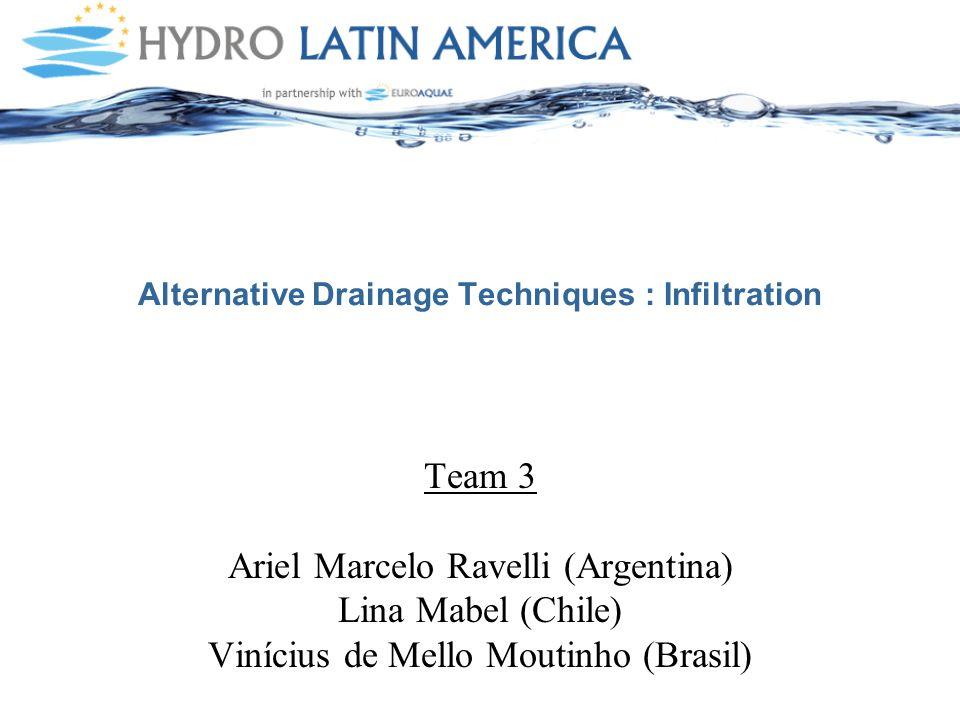 Alternative Drainage Techniques : Infiltration Team 3 Ariel Marcelo Ravelli (Argentina) Lina Mabel (Chile) Vinícius de Mello Moutinho (Brasil)