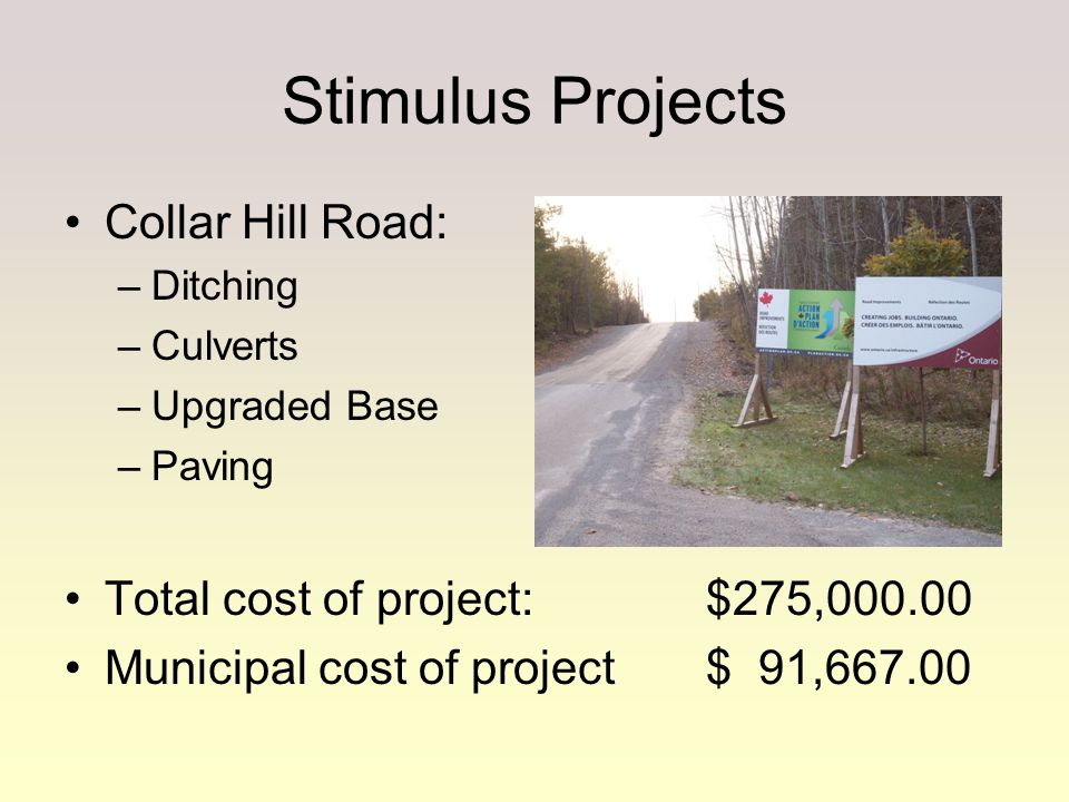 Stimulus Projects Collar Hill Road: –Ditching –Culverts –Upgraded Base –Paving Total cost of project:$275,000.00 Municipal cost of project$ 91,667.00