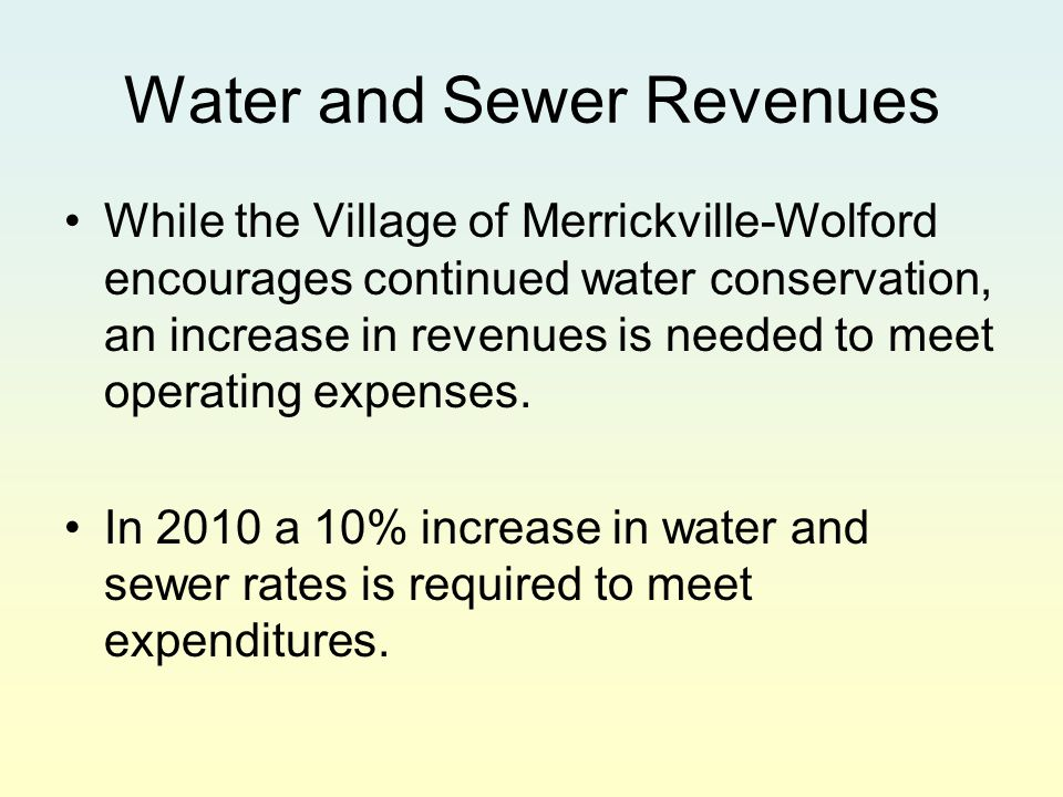 Water and Sewer Revenues