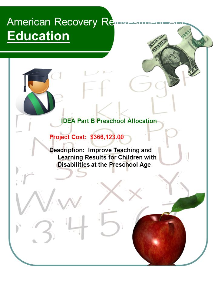 American Recovery Reinvestment Act Education IDEA Part B Preschool Allocation Project Cost: $366,123.00 Description: Improve Teaching and Learning Results for Children with Disabilities at the Preschool Age