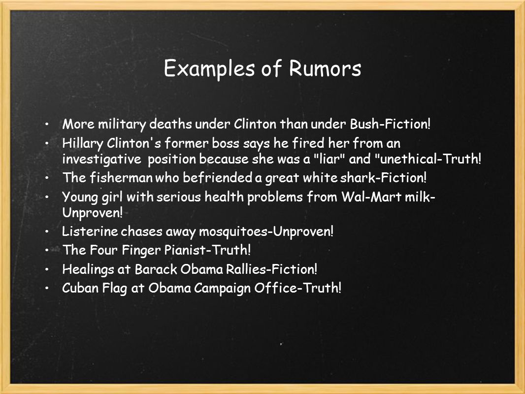 Examples of Rumors More military deaths under Clinton than under Bush-Fiction.