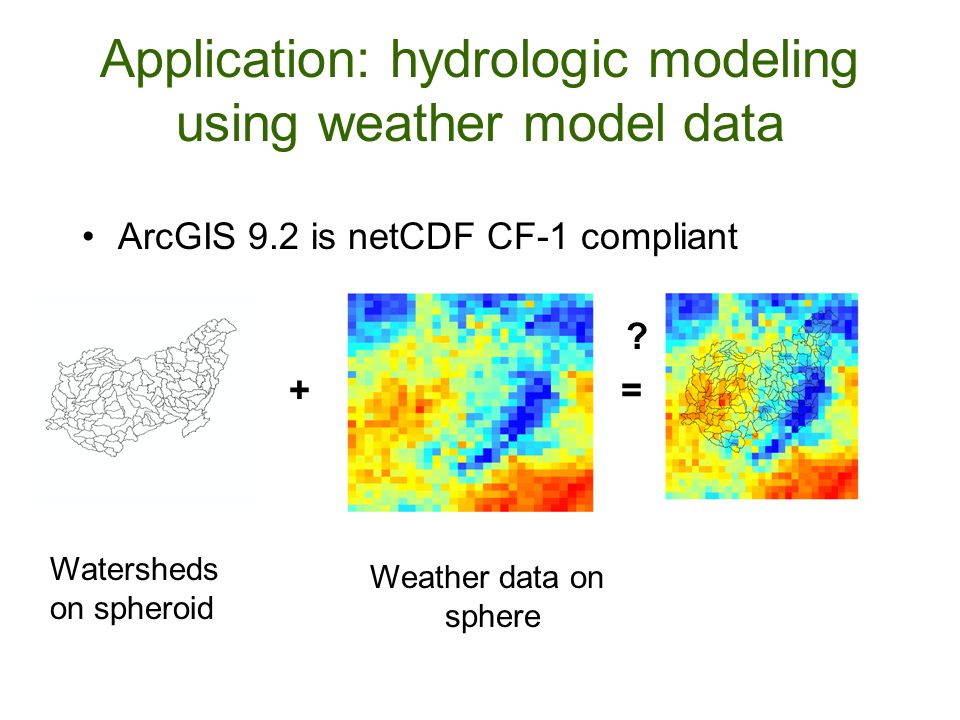 Application: hydrologic modeling using weather model data ArcGIS 9.2 is netCDF CF-1 compliant .