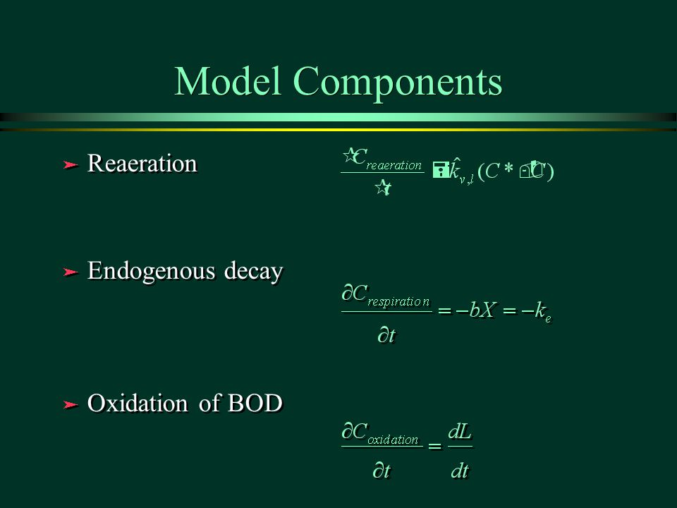 Model Components ä Reaeration ä Endogenous decay ä Oxidation of BOD ä Reaeration ä Endogenous decay ä Oxidation of BOD