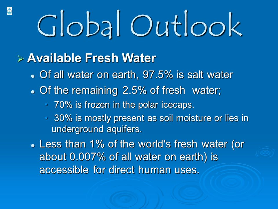 Global Outlook  Available Fresh Water Of all water on earth, 97.5% is salt water Of all water on earth, 97.5% is salt water Of the remaining 2.5% of