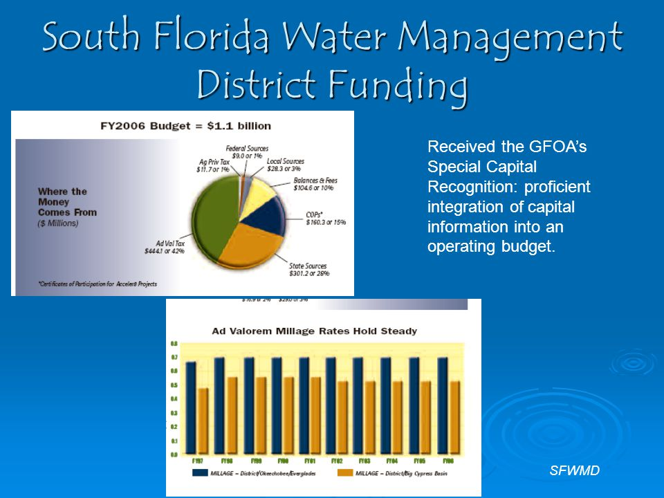 South Florida Water Management District Funding Received the GFOA's Special Capital Recognition: proficient integration of capital information into an