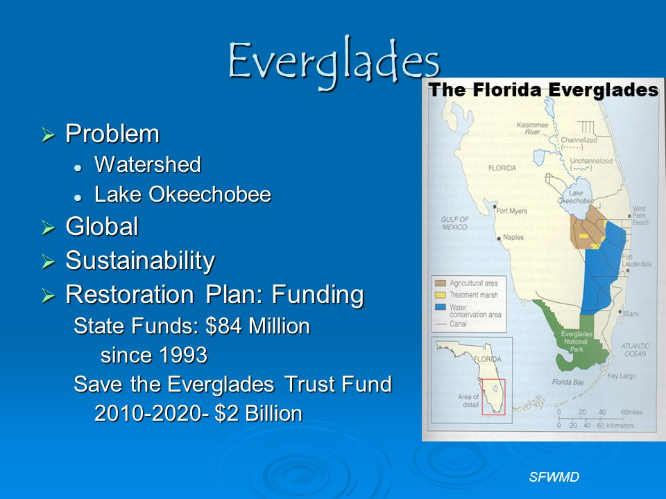 Everglades  Problem Watershed Watershed Lake Okeechobee Lake Okeechobee  Global  Sustainability  Restoration Plan: Funding State Funds: $84 Million since 1993 since 1993 Save the Everglades Trust Fund 2010-2020- $2 Billion SFWMD