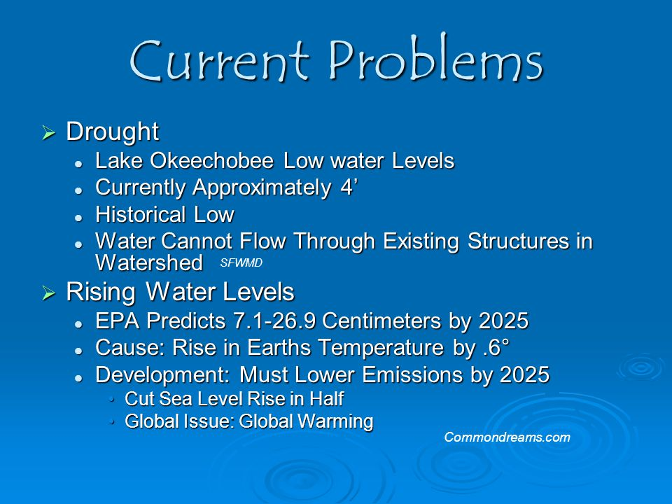 Current Problems  Drought Lake Okeechobee Low water Levels Lake Okeechobee Low water Levels Currently Approximately 4' Currently Approximately 4' His