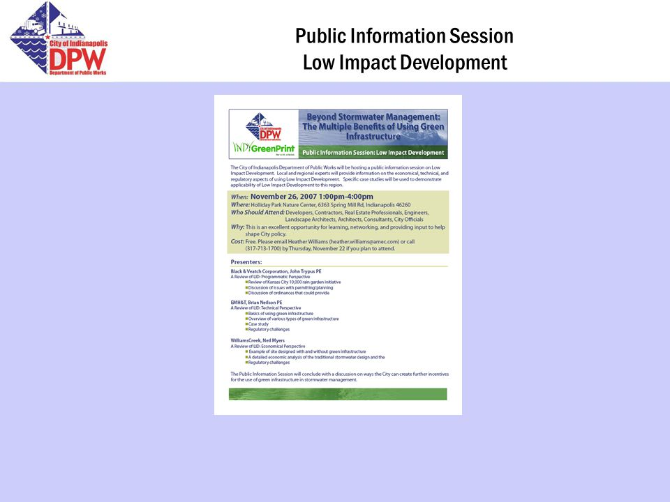 Public Information Session Low Impact Development