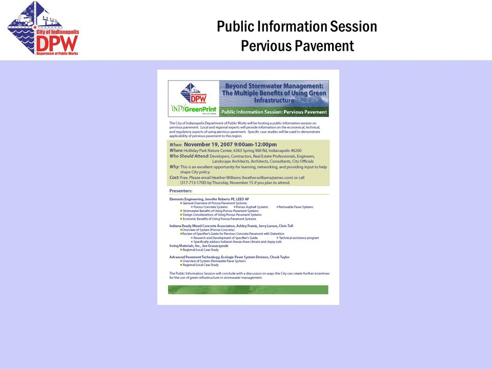 Public Information Session Pervious Pavement