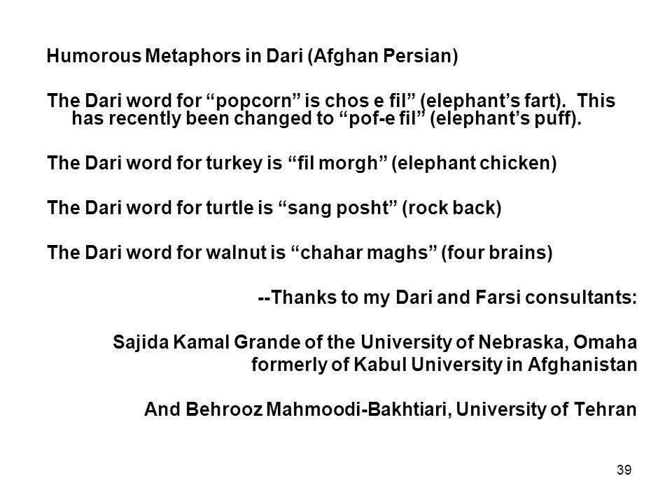 39 Humorous Metaphors in Dari (Afghan Persian) The Dari word for popcorn is chos e fil (elephant's fart).
