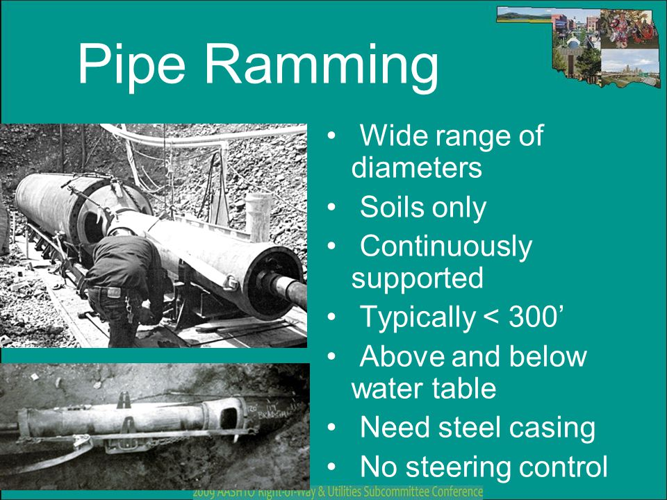 Pipe Ramming Wide range of diameters Soils only Continuously supported Typically < 300' Above and below water table Need steel casing No steering cont