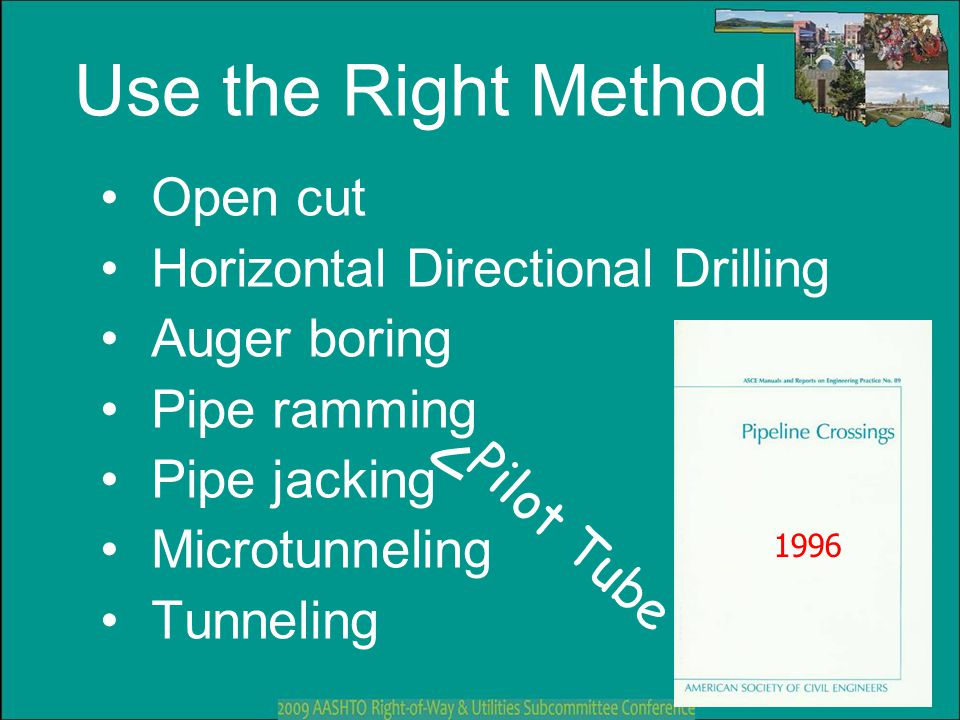 Use the Right Method Open cut Horizontal Directional Drilling Auger boring Pipe ramming Pipe jacking Microtunneling Tunneling 1996 Pilot Tube