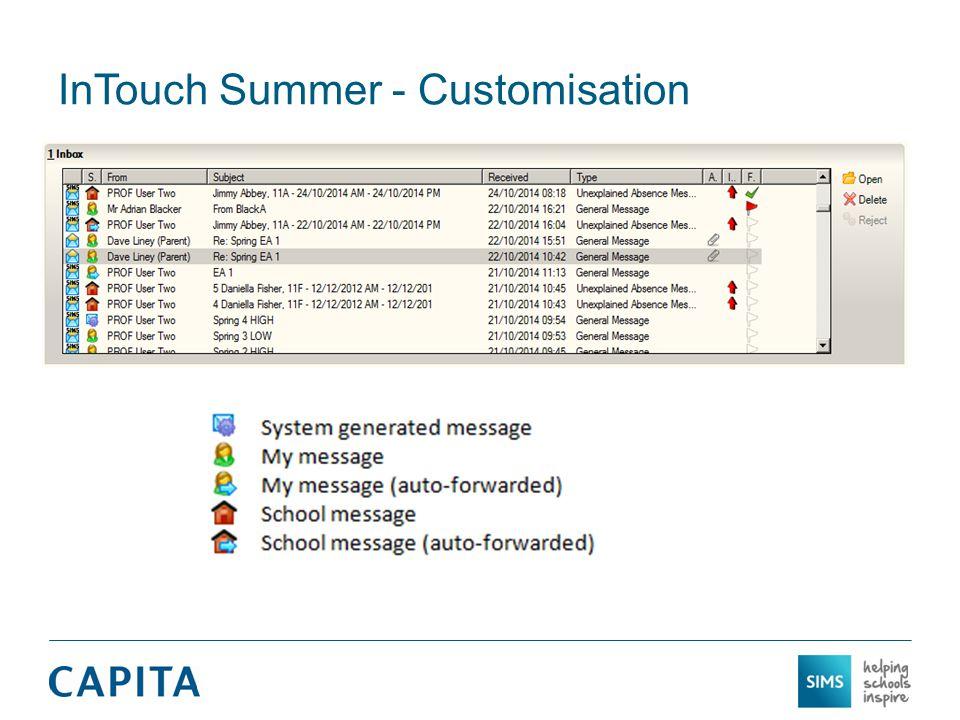 InTouch Summer - Customisation