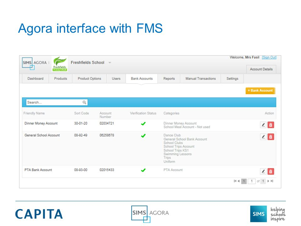 Agora interface with FMS