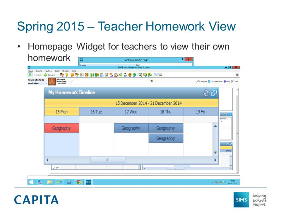 Spring 2015 – Teacher Homework View The homework appears in the Timeline according to the due date Blue backgrounds indicate future homework Red backgrounds indicate homework has not been handed in by at least one student and if homework is due for that day
