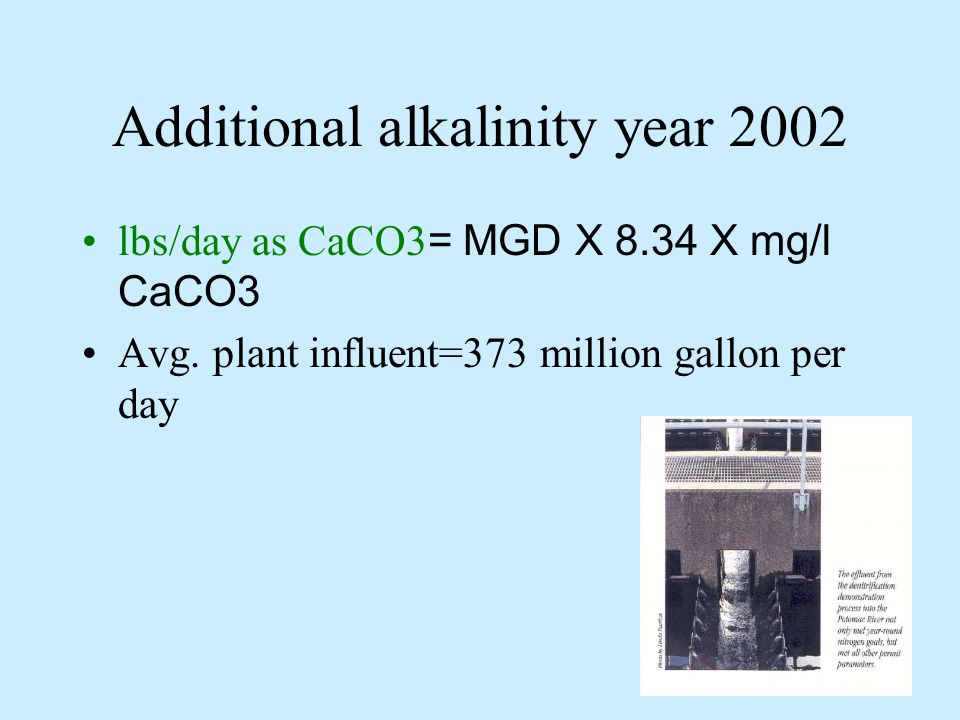 Additional alkalinity year 2002 From the history data, Jan-Oct year 2002, the alkalinity as CaCO3 we need to add to wastewater to maintain the standard alkalinity in wastewater, 80 mg/l is shown below