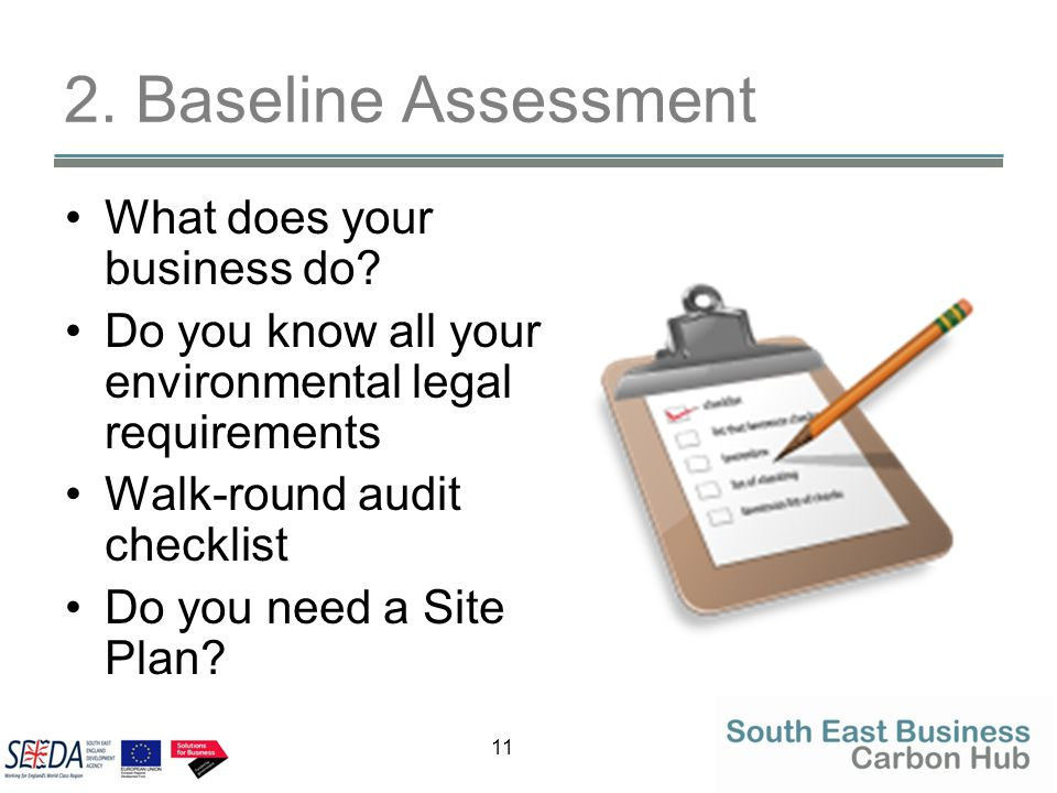 11 2. Baseline Assessment What does your business do? Do you know all your environmental legal requirements Walk-round audit checklist Do you need a S