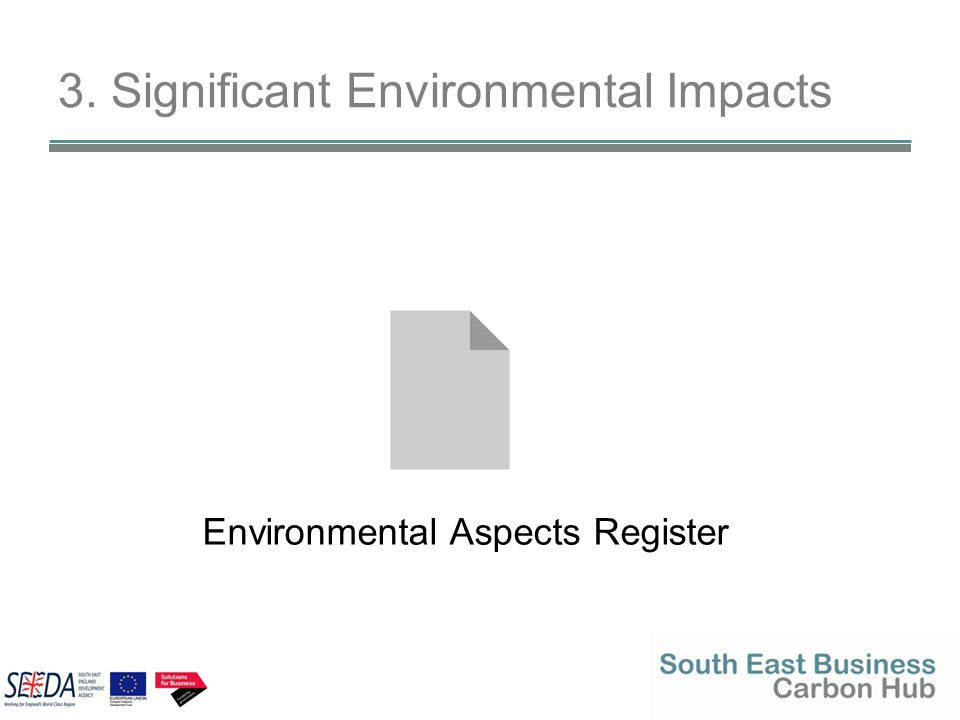 3. Significant Environmental Impacts Environmental Aspects Register
