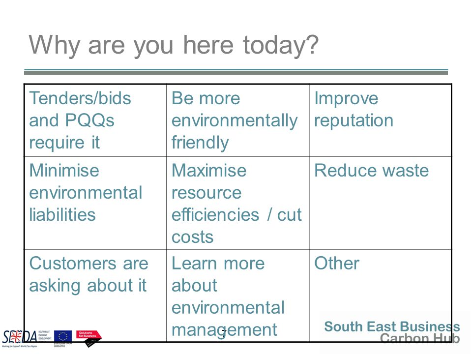 7 Why are you here today? Tenders/bids and PQQs require it Be more environmentally friendly Improve reputation Minimise environmental liabilities Maxi