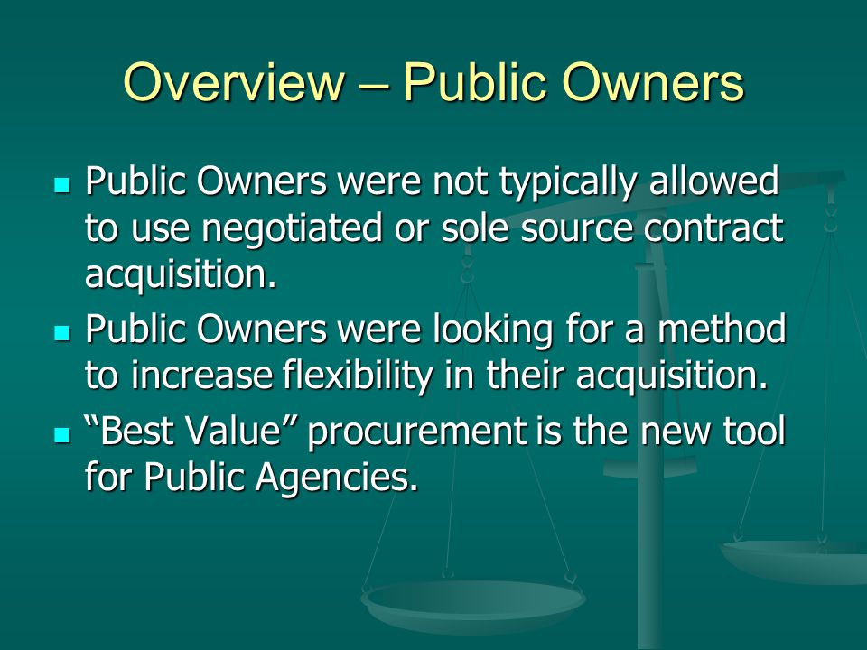 Overview - Owners Public (Government) contracts differ from nonpublic contracts in that private sector contracts have few constraints, while public sector contracts involve extensive regulations imposed by the government.