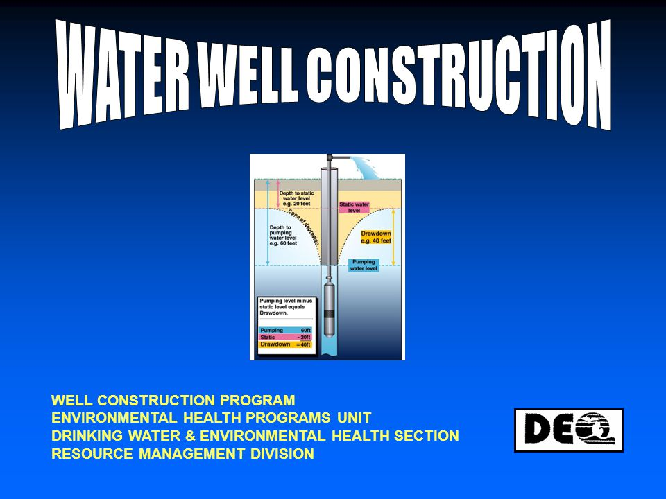 Statute: Part 127 – Water Supply and Sewer Systems Act 368, PA 1978, as amended (Public Health Code) (MCLA 333.12701 – 12715) Part 1 – Well Construction Code Part 2 - Drilling Contractors' & Pump Installers' Registration Part 3 – Drilling Machines & Service Vehicles Part 4 - Dewatering Wells R 325.1601 – 325.1781 FIRST BECAME EFFECTIVE FEB.