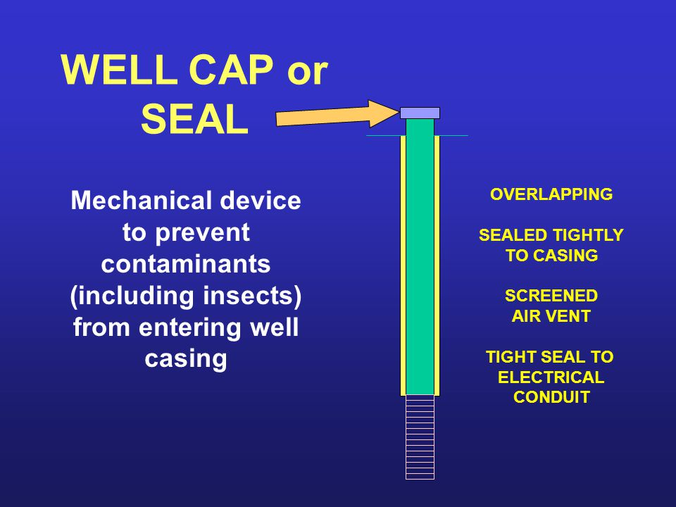 WELL CAP or SEAL Mechanical device to prevent contaminants (including insects) from entering well casing OVERLAPPING SEALED TIGHTLY TO CASING SCREENED