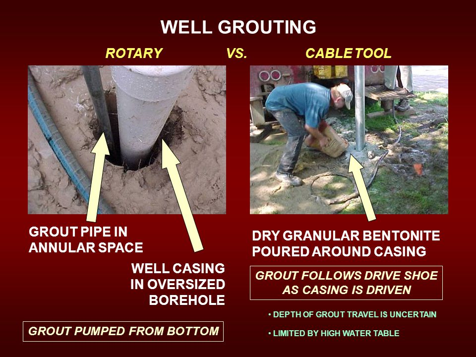WELL GROUTING ROTARY VS. CABLE TOOL GROUT PIPE IN ANNULAR SPACE WELL CASING IN OVERSIZED BOREHOLE GROUT PUMPED FROM BOTTOM DRY GRANULAR BENTONITE POUR