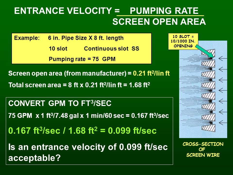 ENTRANCE VELOCITY = PUMPING RATE SCREEN OPEN AREA Example: 6 in. Pipe Size X 8 ft. length 10 slot Continuous slot SS Pumping rate = 75 GPM Screen open