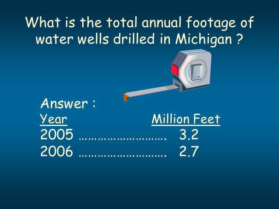 What is the total annual footage of water wells drilled in Michigan ? Answer : YearMillion Feet 2005 ………………………. 3.2 2006 ………………………. 2.7
