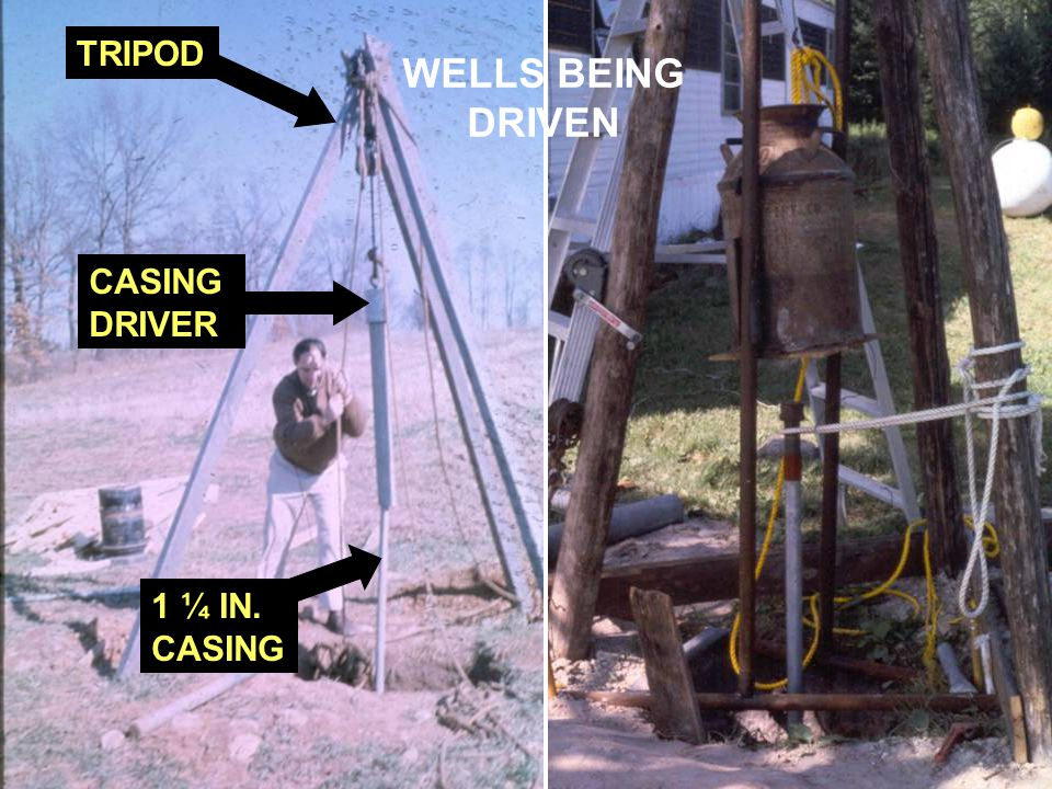 TRIPOD 1 ¼ IN. CASING DRIVER WELLS BEING DRIVEN