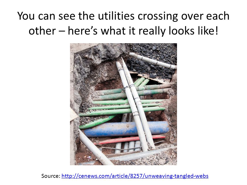 You can see the utilities crossing over each other – here's what it really looks like.