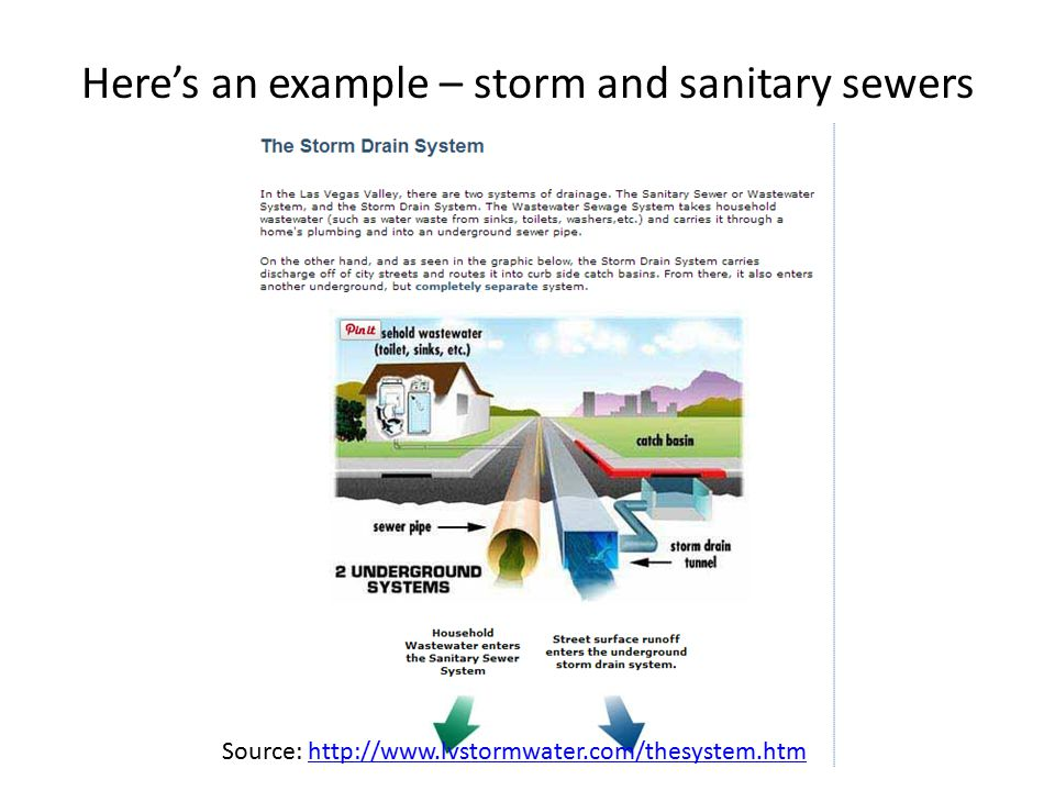 Here's an example – storm and sanitary sewers Source: http://www.lvstormwater.com/thesystem.htmhttp://www.lvstormwater.com/thesystem.htm
