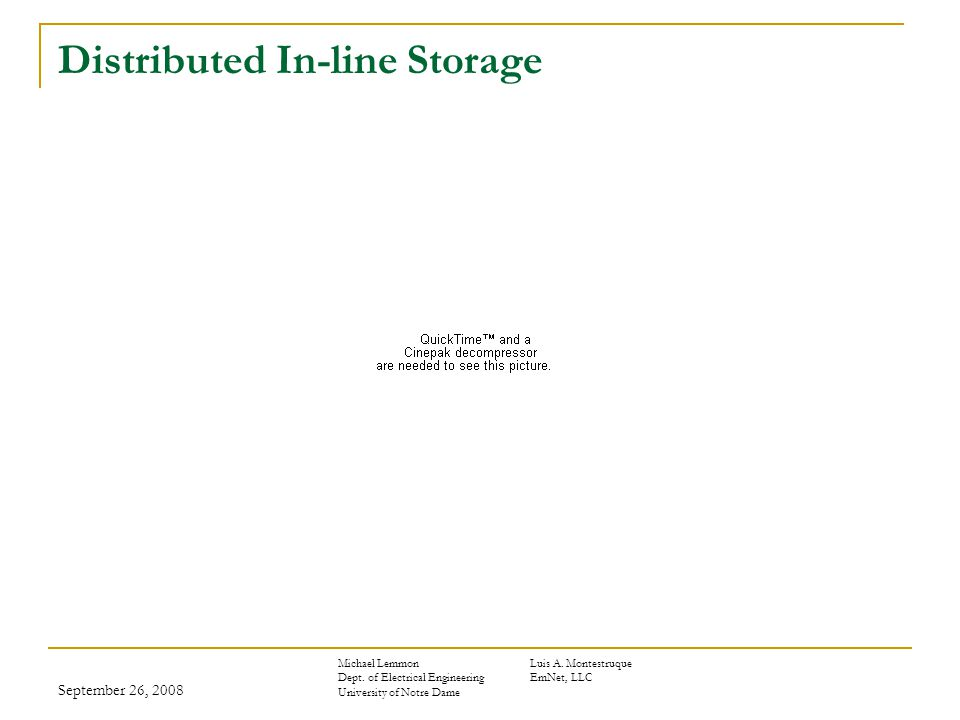 September 26, 2008 Distributed In-line Storage Michael LemmonLuis A.