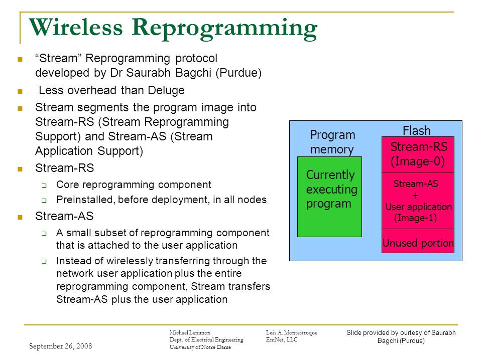 September 26, 2008 Wireless Reprogramming Stream Reprogramming protocol developed by Dr Saurabh Bagchi (Purdue) Less overhead than Deluge Stream segments the program image into Stream-RS (Stream Reprogramming Support) and Stream-AS (Stream Application Support) Stream-RS  Core reprogramming component  Preinstalled, before deployment, in all nodes Stream-AS  A small subset of reprogramming component that is attached to the user application  Instead of wirelessly transferring through the network user application plus the entire reprogramming component, Stream transfers Stream-AS plus the user application Program memory Currently executing program Flash Stream-RS (Image-0) Stream-AS + User application (Image-1) Unused portion Slide provided by ourtesy of Saurabh Bagchi (Purdue) Michael LemmonLuis A.