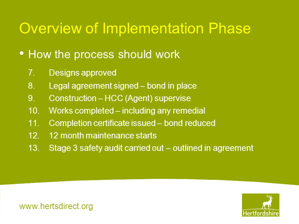 www.hertsdirect.org Overview of Implementation Phase How the process should work 7.Designs approved 8.Legal agreement signed – bond in place 9.Constru