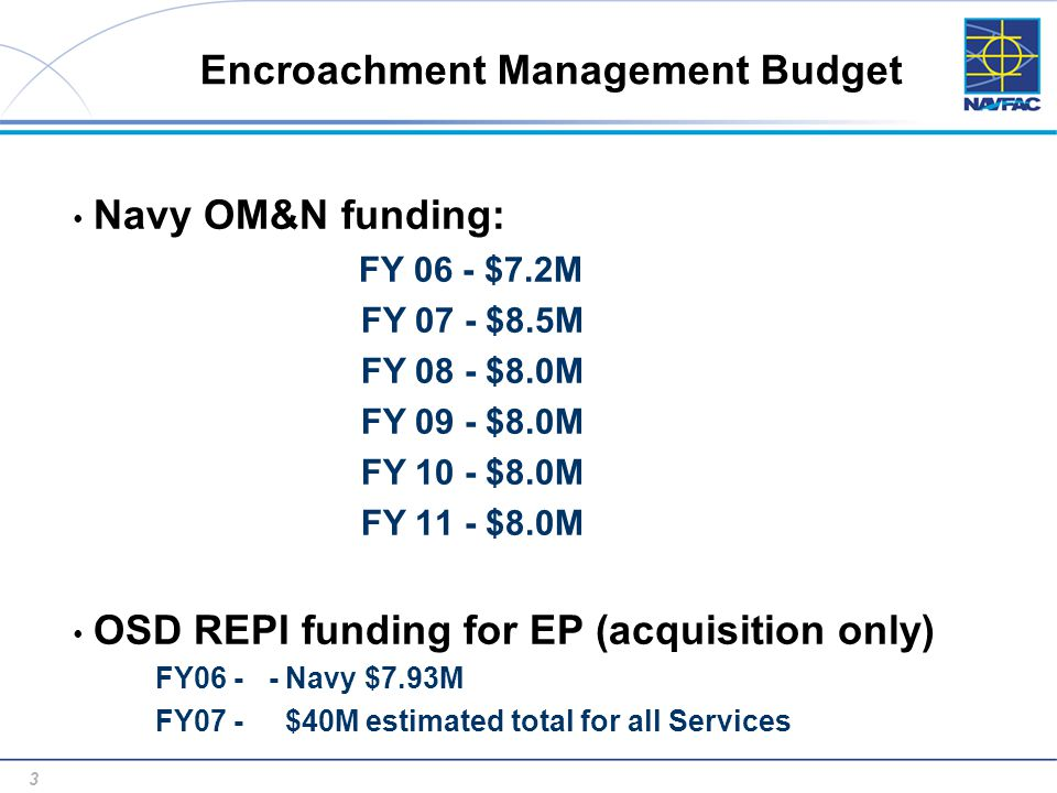 3 3 Encroachment Management Budget Navy OM&N funding: FY 06 - $7.2M FY 07 - $8.5M FY 08 - $8.0M FY 09 - $8.0M FY 10 - $8.0M FY 11 - $8.0M OSD REPI funding for EP (acquisition only) FY06 - - Navy $7.93M FY07 - $40M estimated total for all Services
