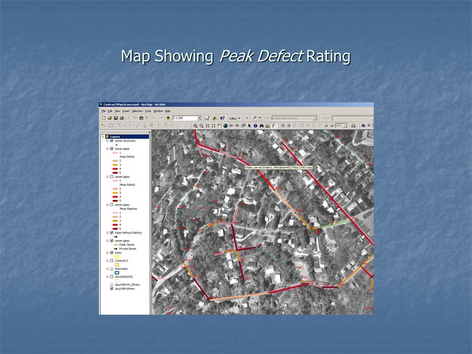 Map Showing Peak Defect Rating