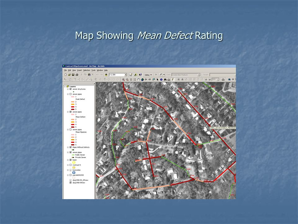 Map Showing Mean Defect Rating