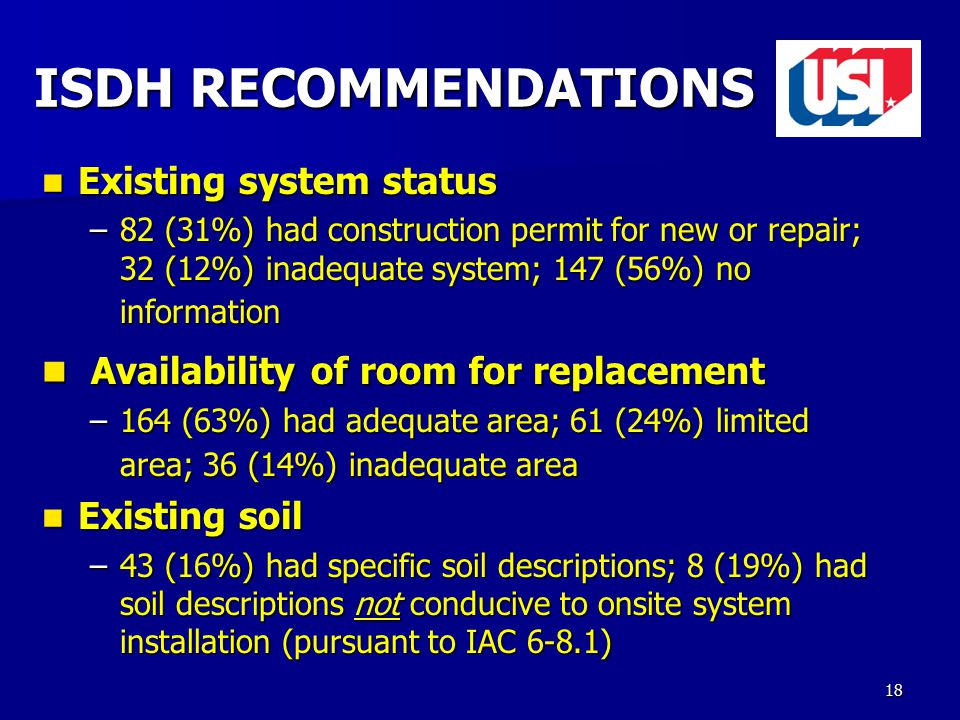 18 Existing system status Existing system status –82 (31%) had construction permit for new or repair; 32 (12%) inadequate system; 147 (56%) no information Availability of room for replacement Availability of room for replacement –164 (63%) had adequate area; 61 (24%) limited area; 36 (14%) inadequate area Existing soil Existing soil –43 (16%) had specific soil descriptions; 8 (19%) had soil descriptions not conducive to onsite system installation (pursuant to IAC 6-8.1) ISDH RECOMMENDATIONS