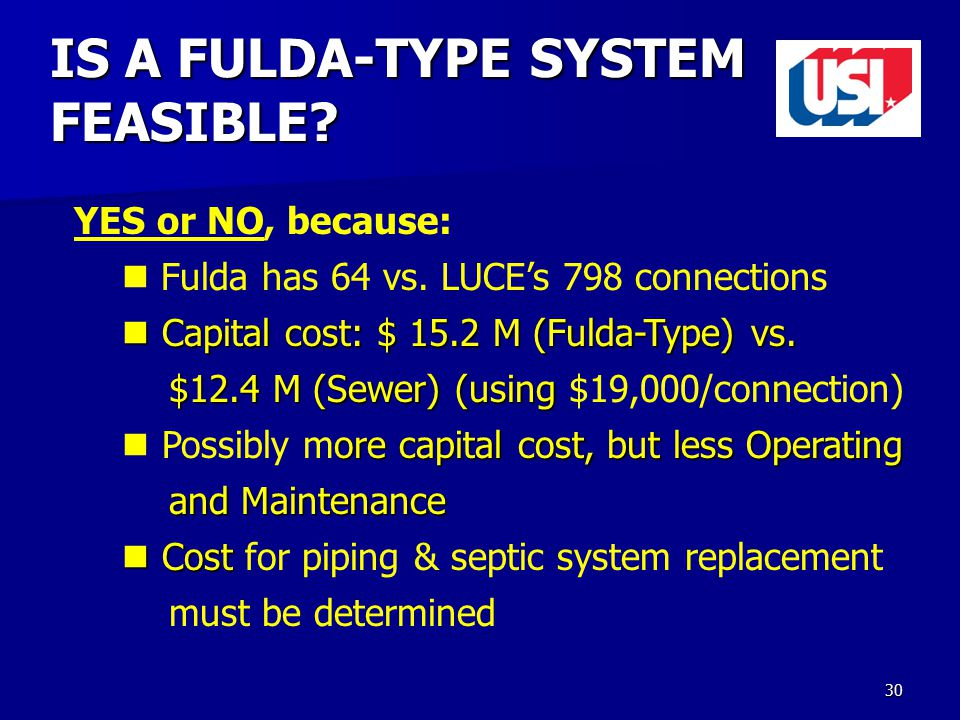 30 IS A FULDA-TYPE SYSTEM FEASIBLE. YES or NO, because: Fulda has 64 vs.