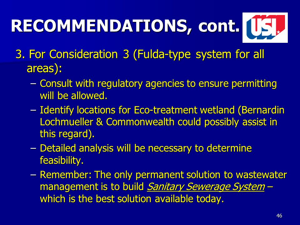 46 RECOMMENDATIONS, cont. 3.