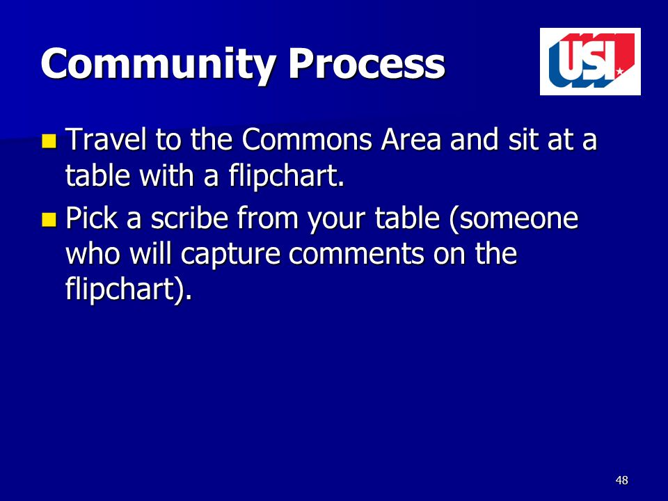 Community Process Travel to the Commons Area and sit at a table with a flipchart.