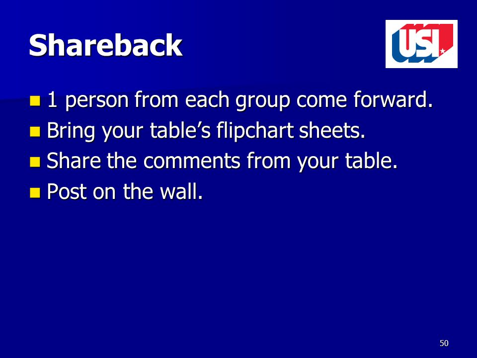 Shareback 1 person from each group come forward. 1 person from each group come forward.