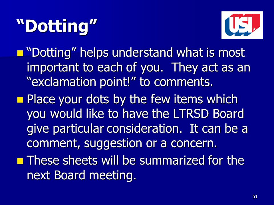 Dotting Dotting helps understand what is most important to each of you.
