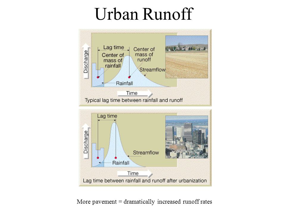 Urban Runoff More pavement = dramatically increased runoff rates