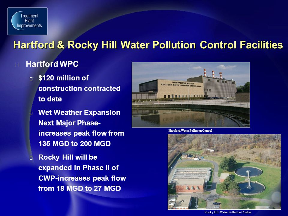 Hartford & Rocky Hill Water Pollution Control Facilities Hartford & Rocky Hill Water Pollution Control Facilities Hartford Water Pollution Control Rocky Hill Water Pollution Control u Hartford WPC u $120 million of construction contracted to date u Wet Weather Expansion Next Major Phase- increases peak flow from 135 MGD to 200 MGD u Rocky Hill will be expanded in Phase II of CWP-increases peak flow from 18 MGD to 27 MGD