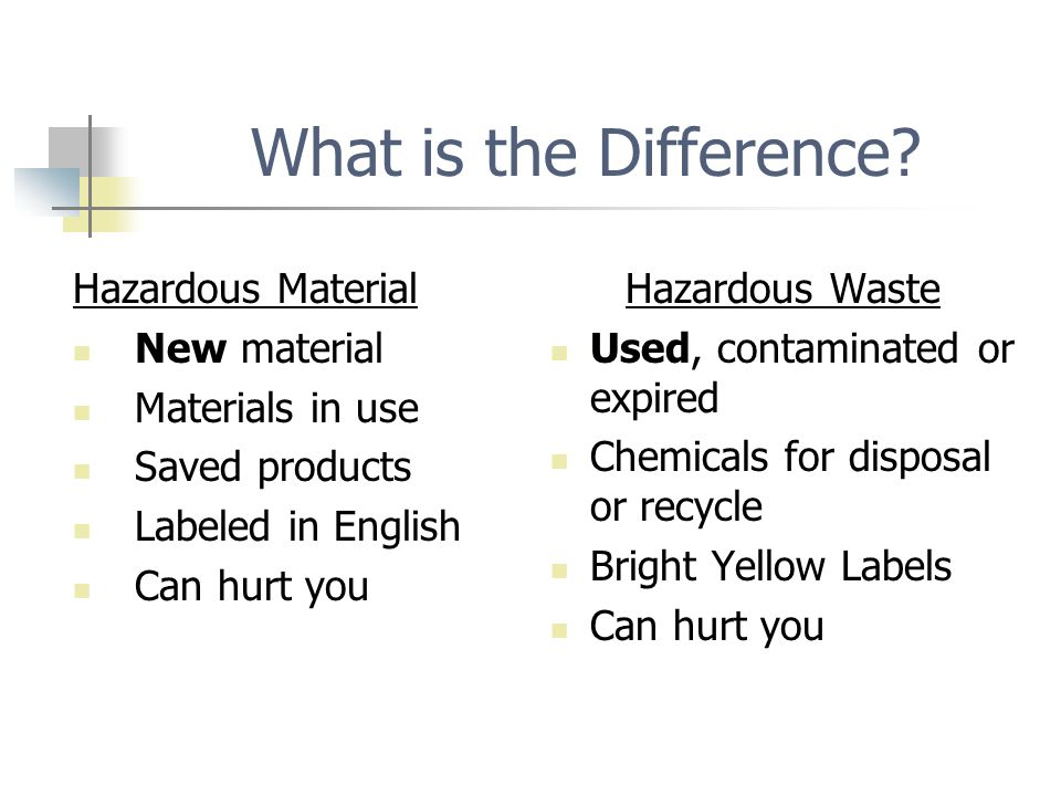 Waste Characteristics u Toxic Fails Toxic Characteristic Leaching Procedure (TCLP) Test – simply, small amounts make you sick when you get it in your body (eat or drink) or absorbs through your skin.