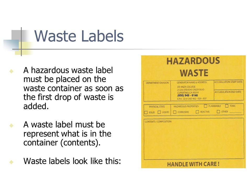 Similarities between Hazardous Materials and Hazardous Waste LABELED according to requirements Secondary containment required Kept securely closed except when in use Compatible storage – segregation Perform Inspections, reporting & record keeping Never dumped into trash, sewer or storm drain Inclusion on the Hazardous Material Inventory Statement (HMIS or HMBP)